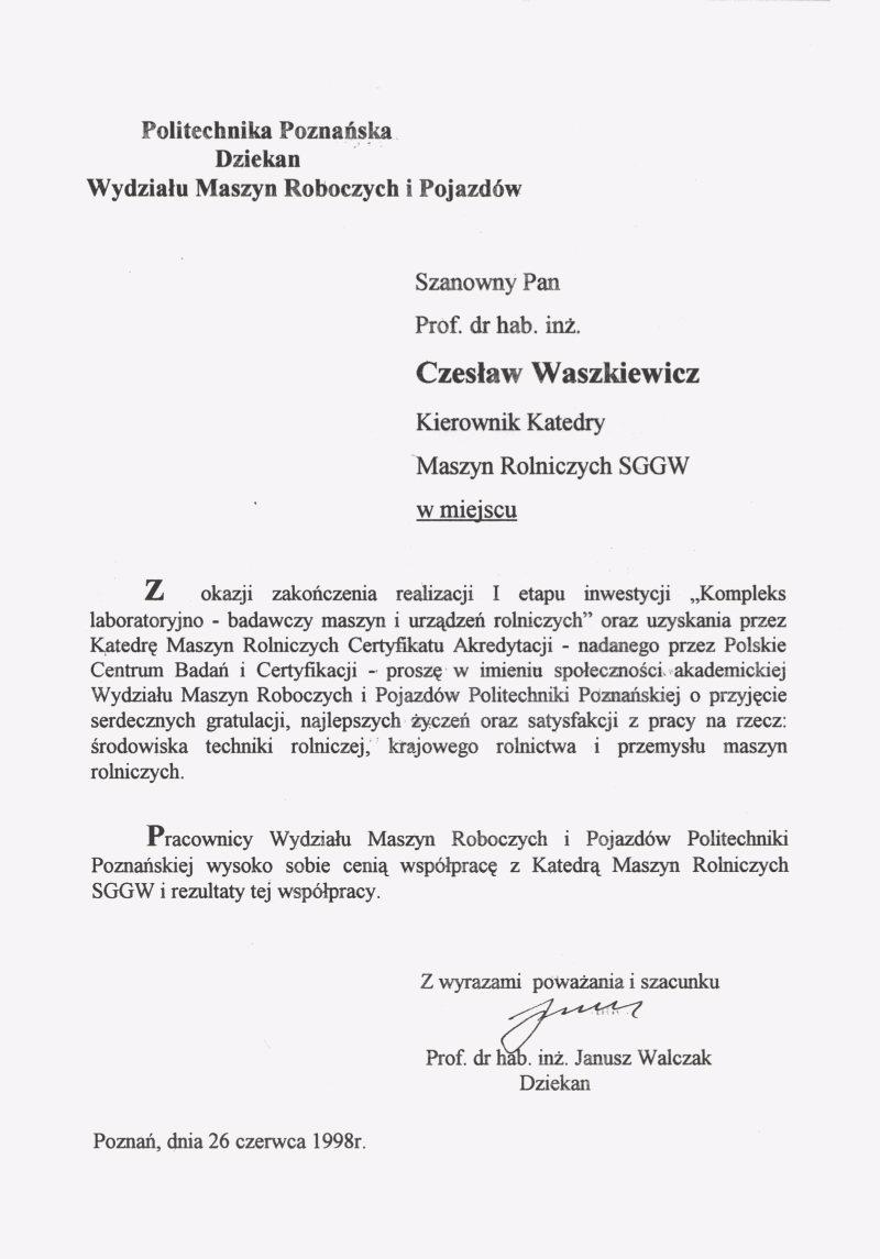 Historia Katedry Maszyn Rolniczych i Leœnych