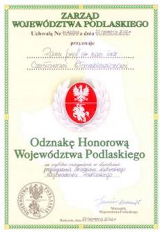 Odznaka Honorowa Województwa Podlaskiego dla Profesora Czesława Waszkiewicza