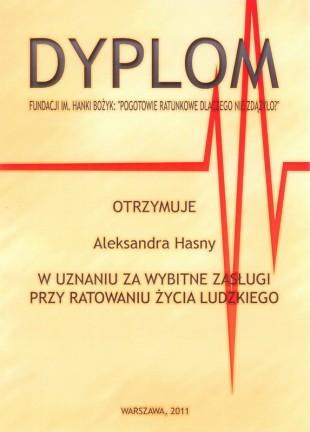 Dyplom i medal fundacji im. Hanki Bożyk dla studentki WIP Aleksandry Hasny