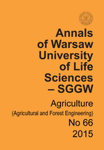 Annals of Warsaw University of Life Sciences – SGGW. Agriculture No 66 (Agricultural and Forest Engineering)