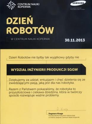 Dyplom dla Wydziału Inżynierii Produkcji za Dzień Robotów w CNK