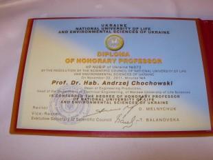 Profesor Andrzej Chochowski Honorowym Profesorem Uczelni w Kijowie
